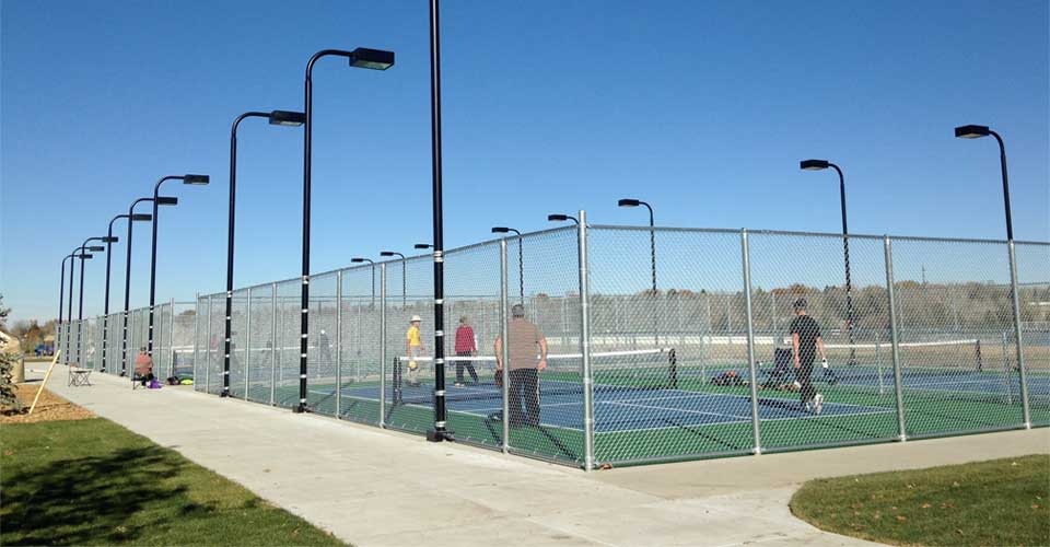 Outdoor pickleball courts at Cornerstone Park